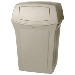 Rubbermaid FG917188BEIG basurero ranger para exterior con capacidad para 45 galones con dos compuertas en la tapa, color beige