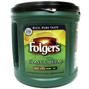 Café marca Folgers descafeinado de 961 gr