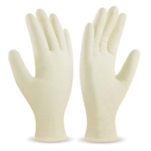 Caja de guantes clinicos de látex desechables con 100 piezas