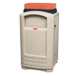 Rubbermaid FG396300BEIG contenedor plaza  con capacidad para 50 galones con puerta de apertura lateral y bandeja superior, color beige