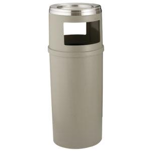 Rubbermaid FG818588BEIG basurero con capaciadad para 15 galones, bandas de retencion y tapa con cenicero en la parte superior, color beige, circular