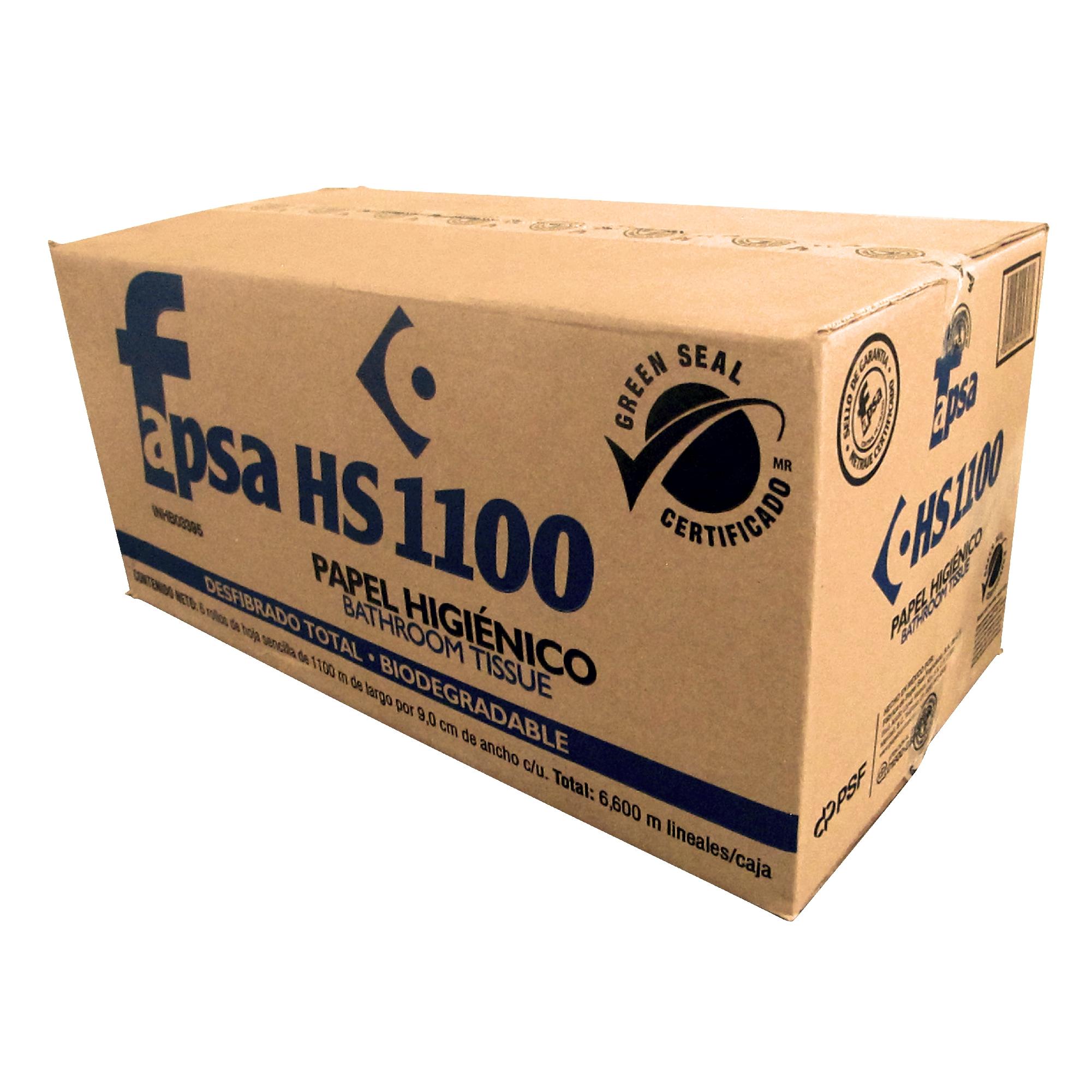 Fapsa HS1100 Higiénico institucional hoja sencilla, caja con 6 rollos de 1100 mts cada uno 1