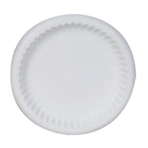 Plato Mardigras color blanco de 21.9cm de diámetro